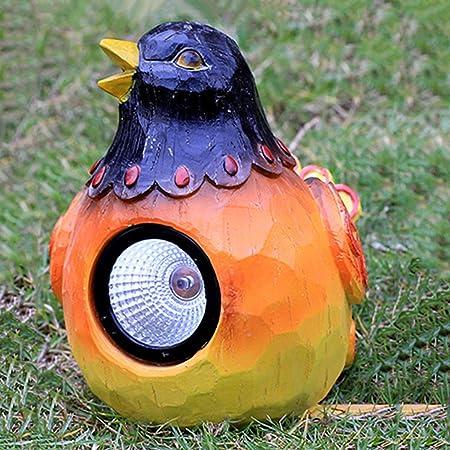Simulación De Pájaro con Luz Solar. Jardín Jardín Exterior Césped Luz Solar Parque De Animales Decorativo Vidrio Acero Escultura. Decoración del Patio 22X15X19cm: Amazon.es: Hogar