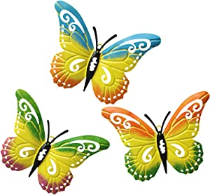 WKHOMEDECO Metal Butterfly Wall Art,Wall Decor Sculpture Hanging for Indoor and Outdoor Decor,Outdoor Wall Art for Patio,Fence, Garden, Yard,Fence Decorations.Set of 3 Metal Butterfly Decor