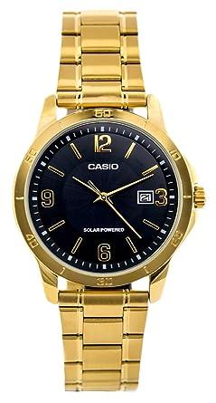Casio Mod. MTP de vs02g mdr-1 a - Solar Powered Quartz Date SS Bracelet IP Oro Black Dial 41 mm WR 30 mtoriginal Box: Amazon.es: Relojes