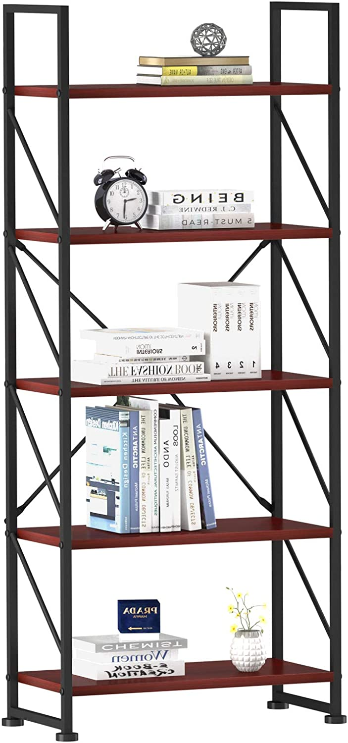 YITAHOME 5 Tiers Bookshelf, Artsy Modern Bookcase, Book Rack, Storage Rack Shelves Books Holder Organizer for Books/Movies in Living Room/Home/Office - Cherry