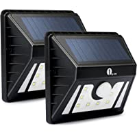 2-Pack 1byone Weatherproof Outdoor Security Motion Sensor LED Solar Lights