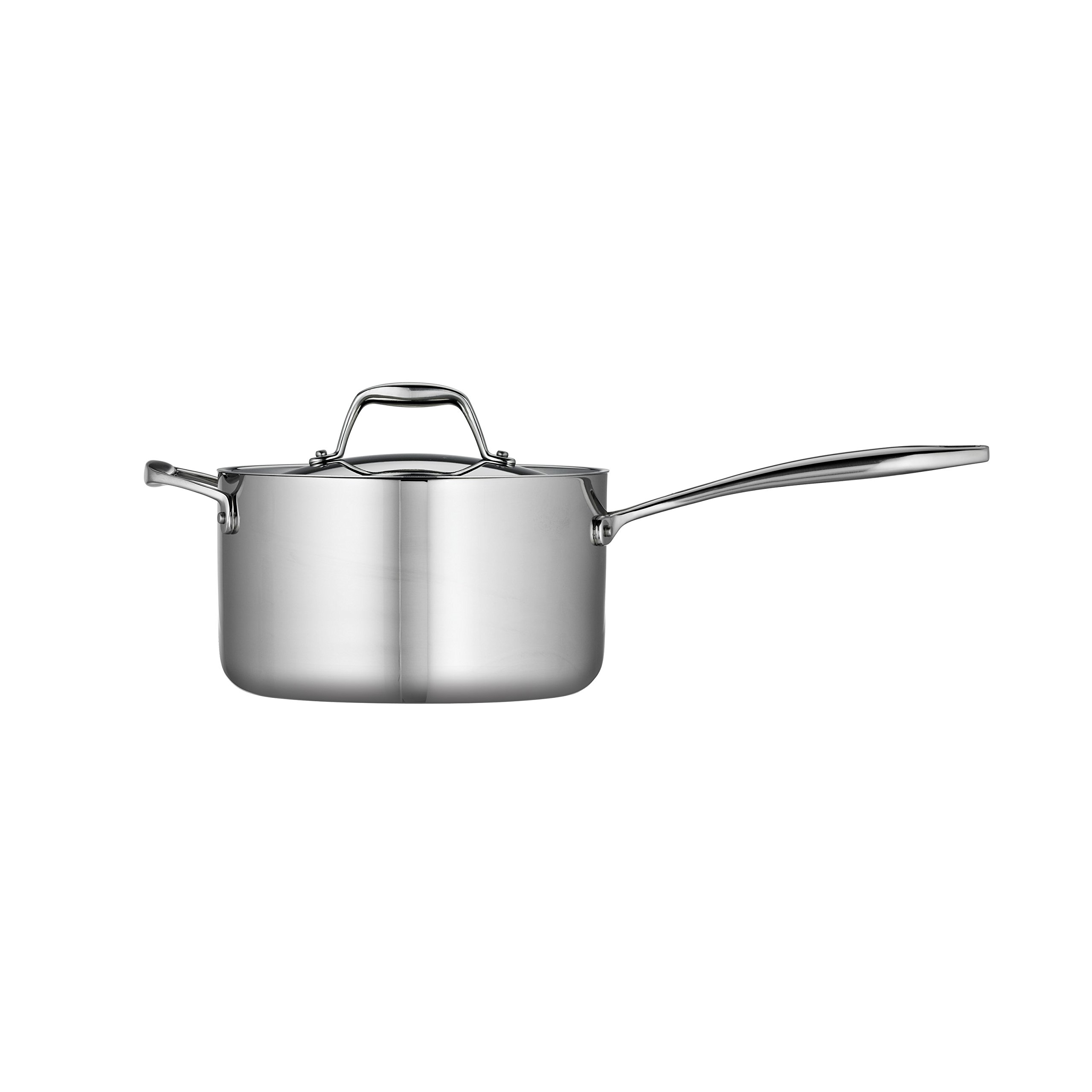 Tramontina 80116/024DS Gourmet Stainless Steel Induction-Ready Tri-Ply Clad Covered Sauce Pan with Helper Handle, 4-Quart, NSF-Certified, Made in Brazil