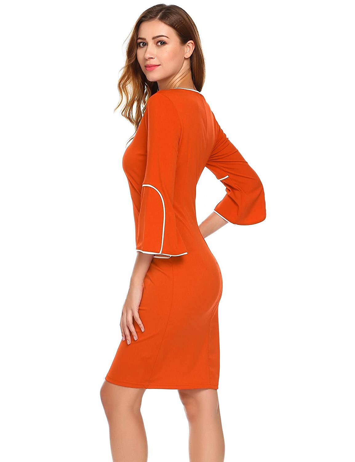 Nessere Women V Neck 3 4 Flare Sleeve Patchwork Bodycon Cocktail Party Dress  at Amazon Women s Clothing store  0c15ff865