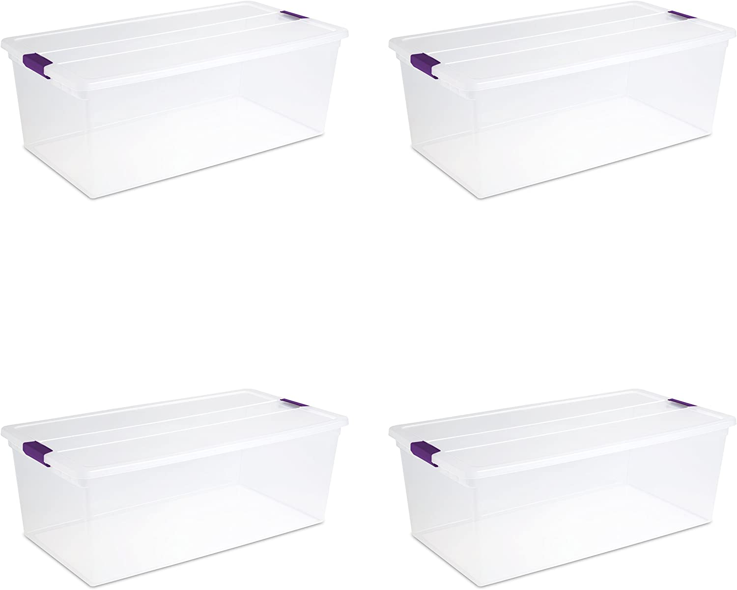 Sterilite 17641704 110 Quart/104 Liter ClearView Latch Box, Clear with Sweet Plum Latches, 4-Pack