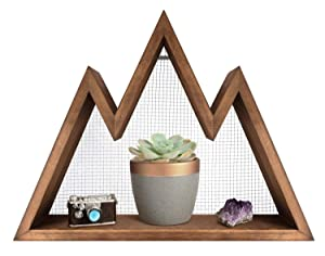 Mkono Wall Shelf Wood Floating Mountain Shelf Crystal Display Shelf Rustic Triangle Wall Art Geometric Decor for Nursery, Bedroom -Perfect Housewarming Gifts