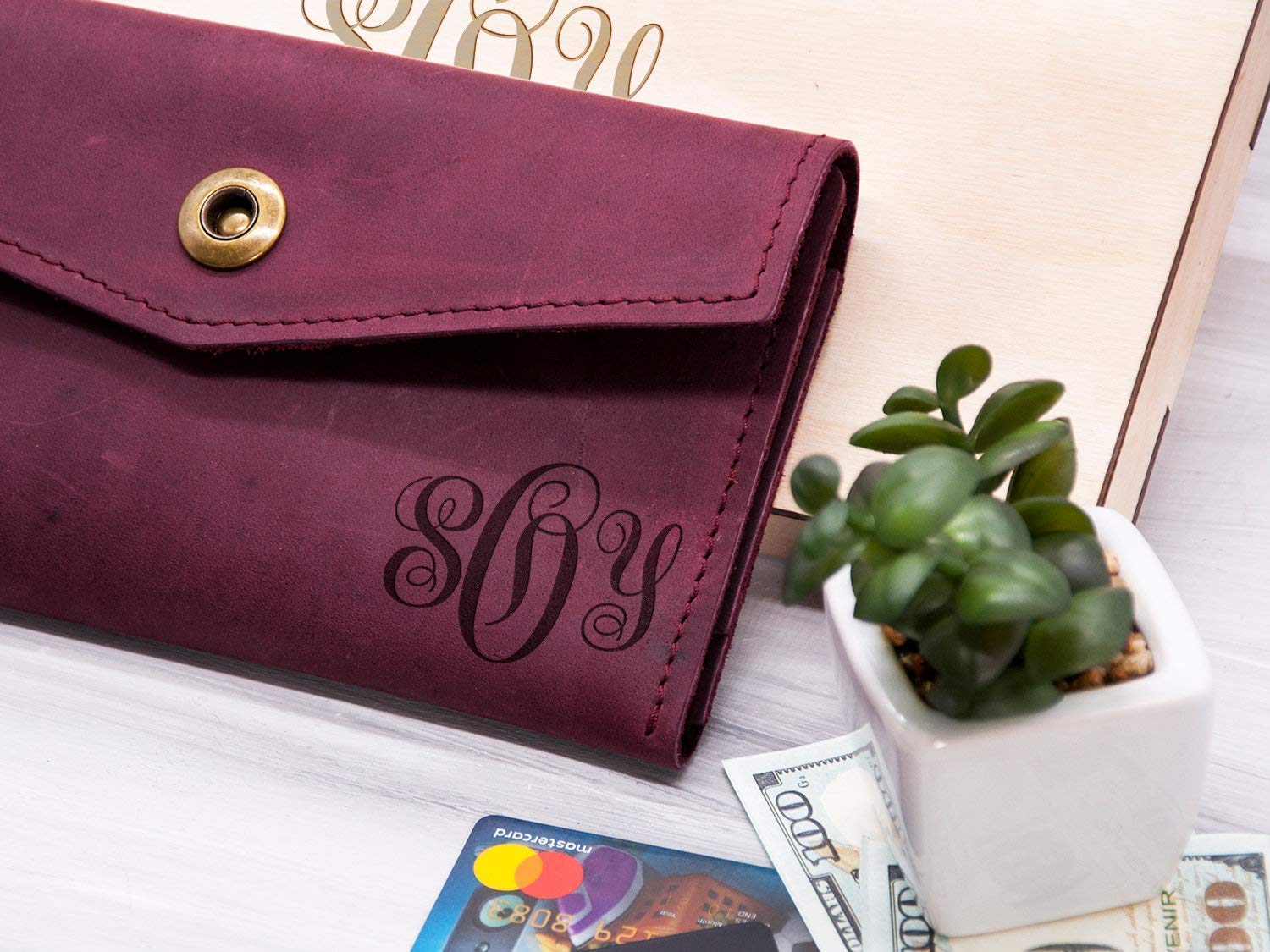 Personalized gifts for mom womens wallet,Personalized gifts for women,Anniversary gift for wife 3 years,Womens wallet handmade