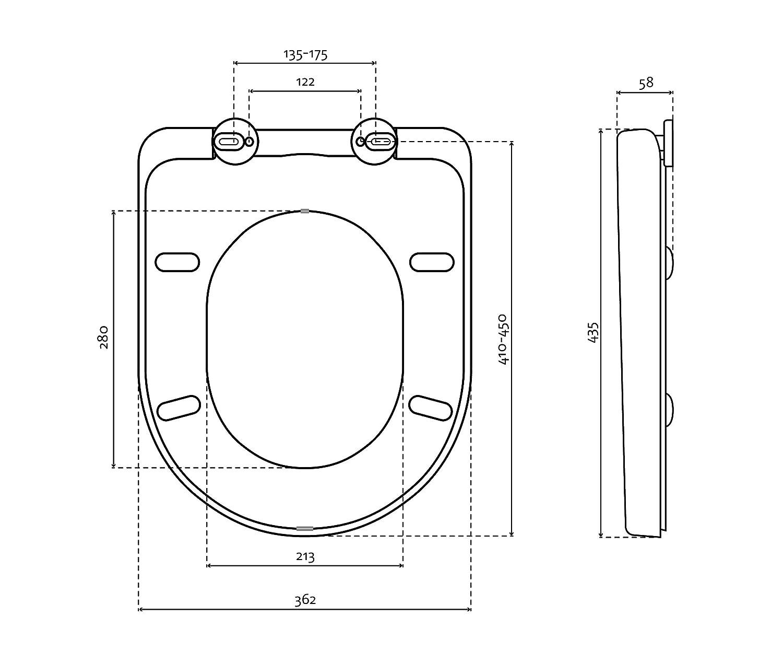 Bullseat 2.1 WC Sitz weiß o-Form genaue Größe, Lochabstand und andere wichtige Maße