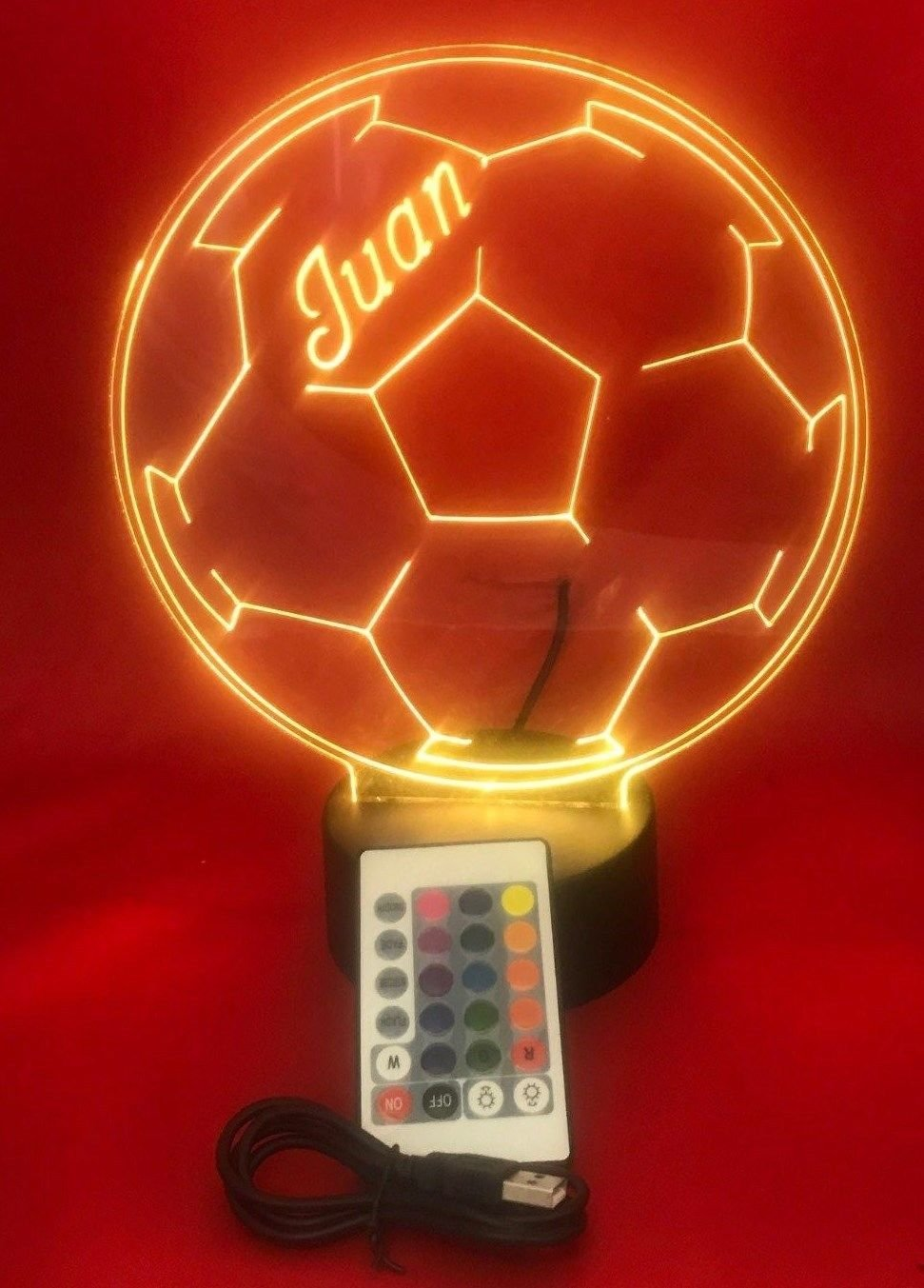 Soccer Ball Light Up Night Light Lamp LED Free Engraved Custom Name Personalized Soccerball Table Lamp, with Remote, 16 Different Color Options, Dimmer, It s Wow, Great Gift