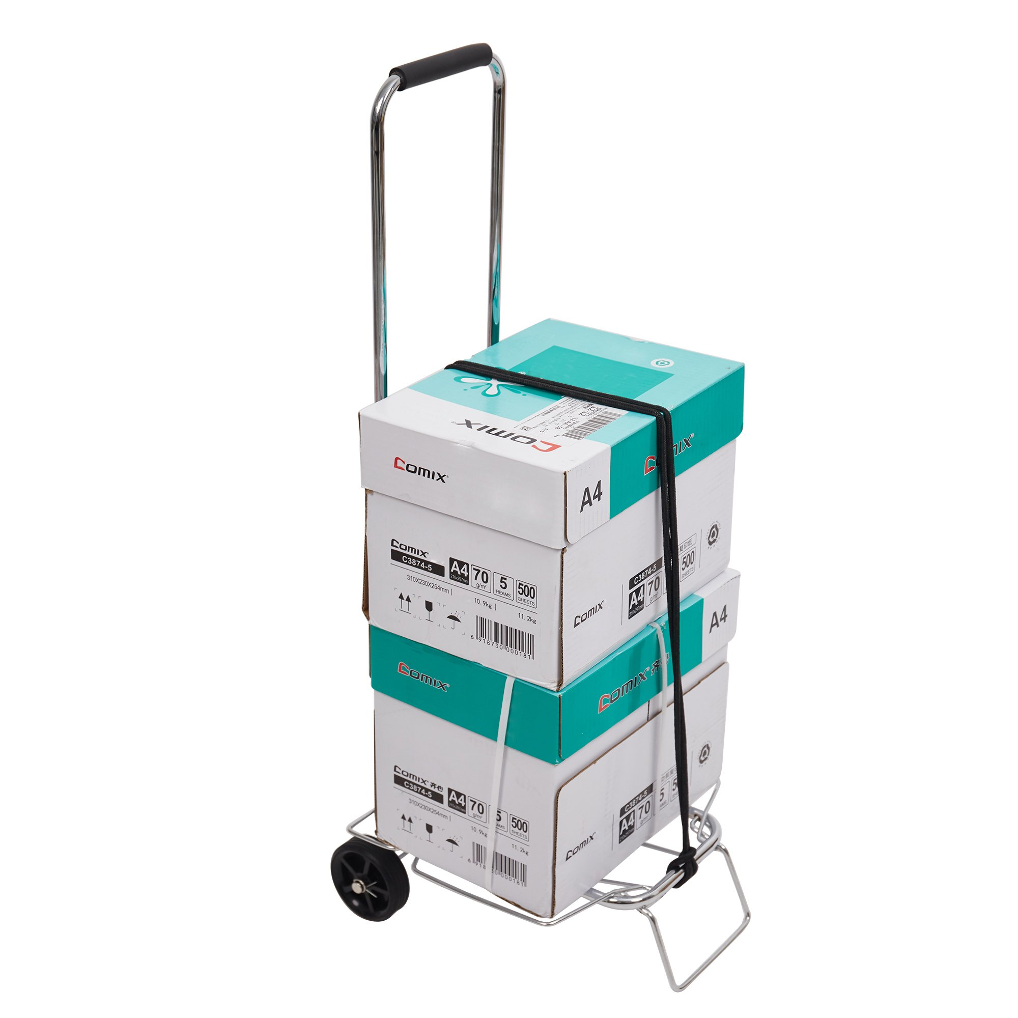 Dporticus Aluminum Folding Hand Truck Multi-Use Cart for Luggage, Personal, Travel, Moving and Office Use Dolly with Wheels, 55 lbs(Silver)