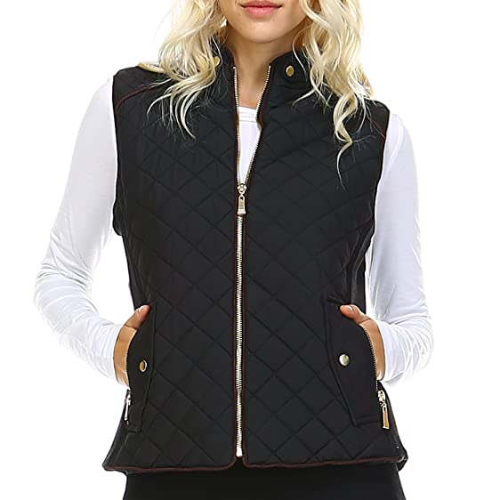 Fashionazzle Women's Lightweight Suede Contrast Quilted Zip Up ...