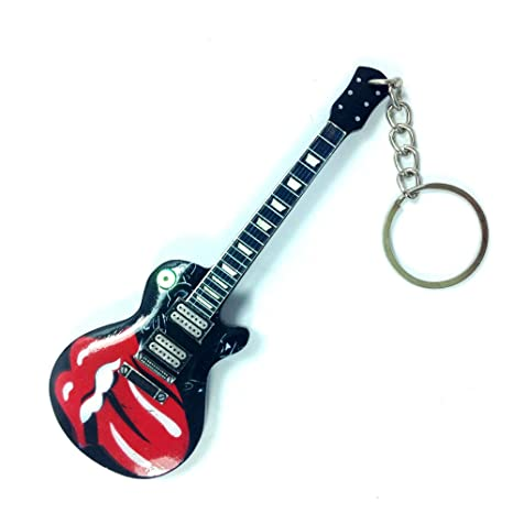 Llaveros de madera con forma de guitarra - Rolling Stones - Tongue