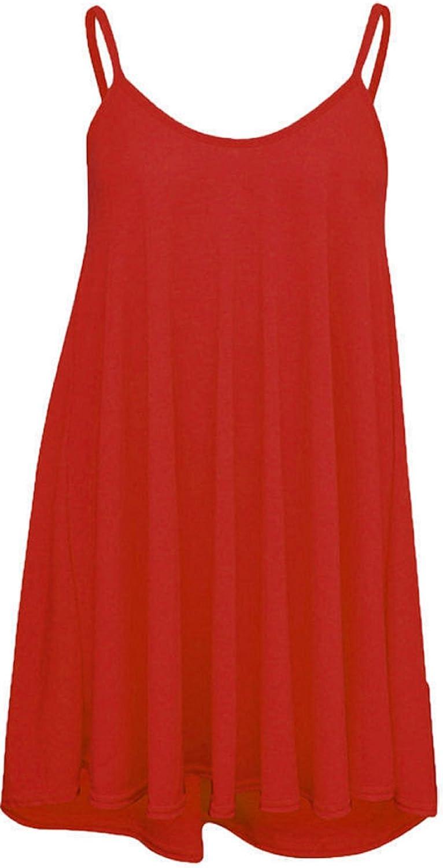 RM Fashions Womens Ladies Plain Plus Size Sleeveless Swing Vest Strap Cami Camisole Tank Top