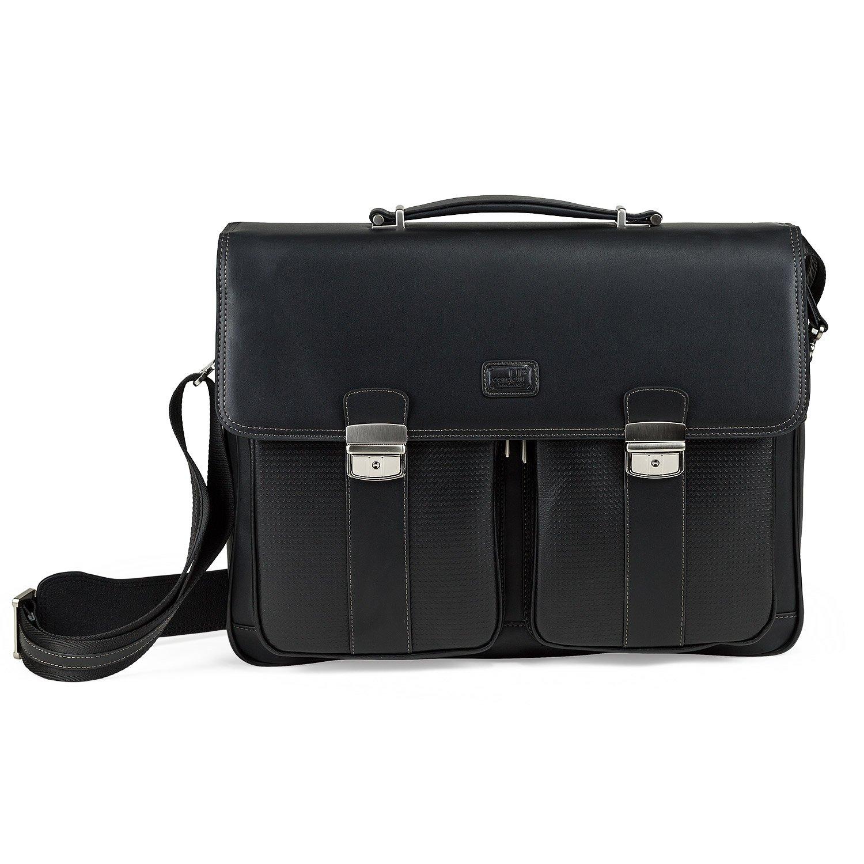 Condotti Full Grain Leather Briefcase Aktentasche, 43 cm, 18 L, Black