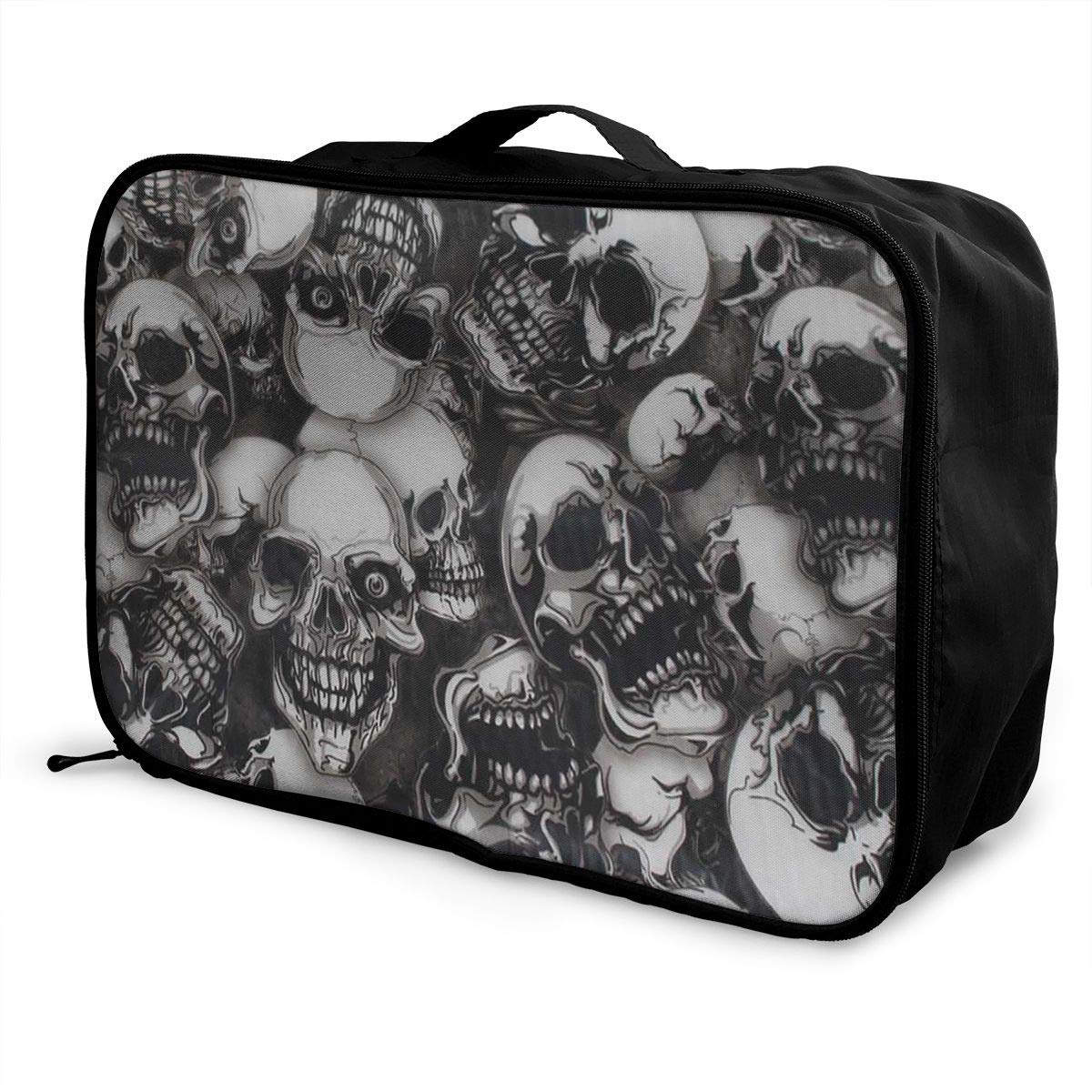 Travel Luggage Duffle Bag Lightweight Portable Handbag Skulls Pattern Large Capacity Waterproof Foldable Storage Tote