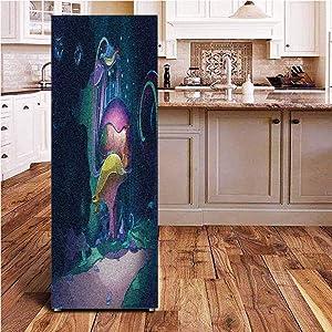Angel-LJH Mushroom 3D Door Fridge DIY Stickers,Big Magical Plant in Fairytale Forest at Midnight Children Book Design Wonderland Door Cover Refrigerator Stickers for Home Gift Souvenir,24x70