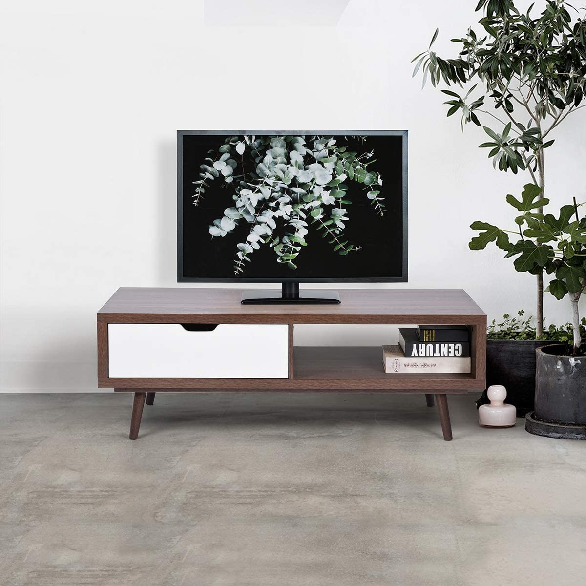 FurnitureR Modern Coffee Table Occsional Living Room Table TV Stand Table with Storage Shelves Beech