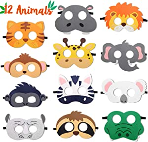 CiyvoLyeen Safari Jungle Animal Felt Masks Wild Animal Theme Birthday Party Favors Kids Costumes Dress-Up Party Supplies(12 Pieces)