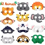 CiyvoLyeen Safari Jungle Animal Felt Masks Wild Animal Theme Birthday Party Favors Costumes Dress-Up Party Supplies(12…