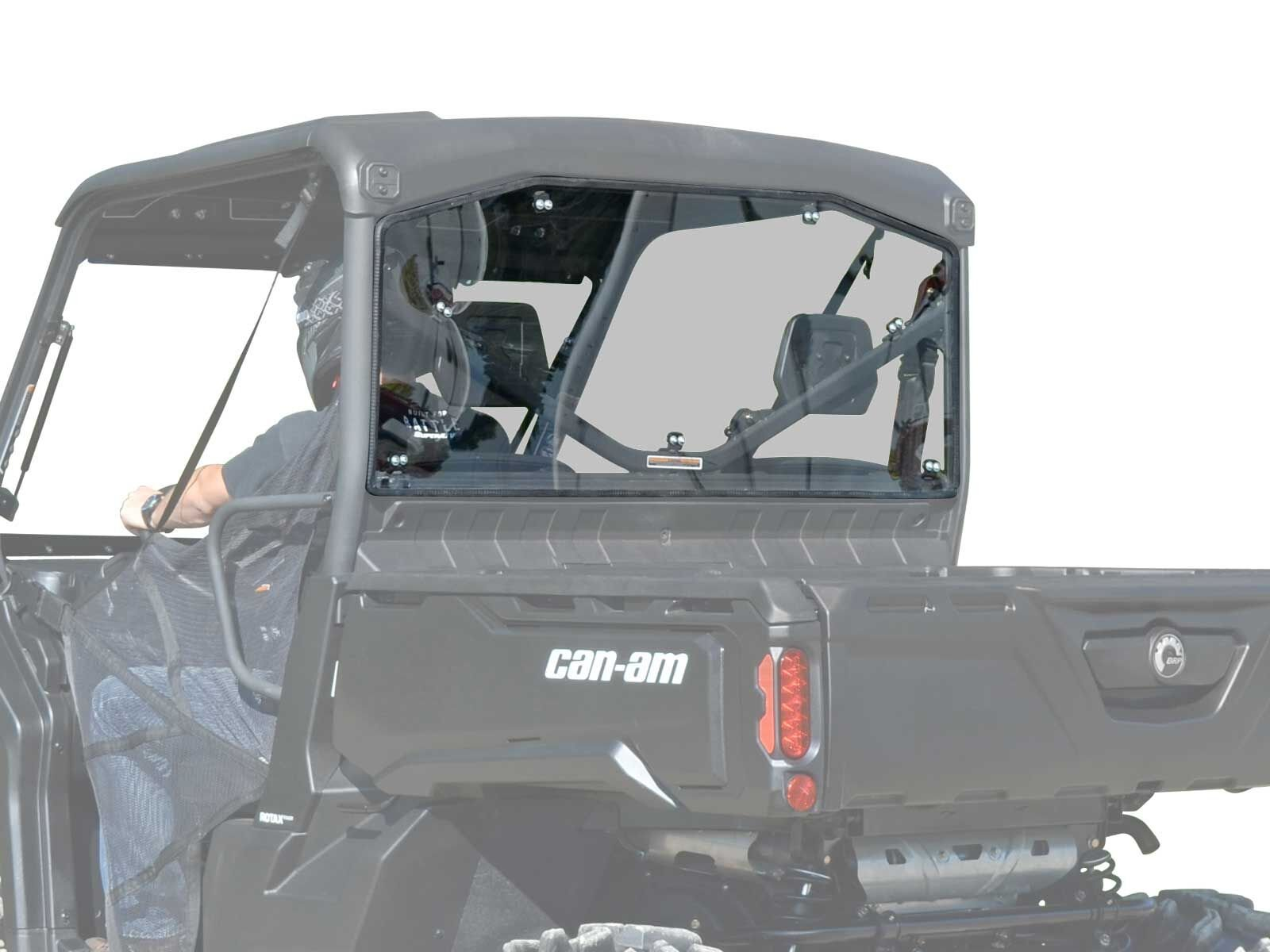 SuperATV Heavy Duty Rear Windshield fir Can-Am Defender (2016+) - Dark Tinted Standard Polycarbonate - Easy to Install!