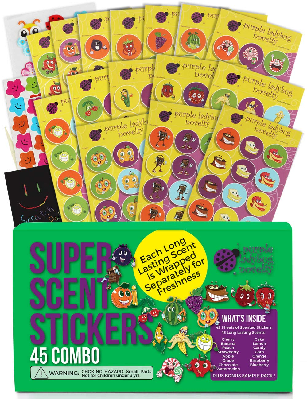 Purple Ladybug 45 Sheets of Scratch and Sniff Stickers for Kids & Teachers with 15 Unique Scratch N Sniff Intense Smells! 675 Motivational Smelly Stickers & Super Scented Reward Stickers for Students!