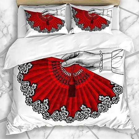 Soefipok Conjuntos de Funda nórdica Flamenco Mano Rojo Abanico Abierto Vintage Cultura española Antigua Diseño teatral Ropa de Cama de Microfibra con 2 Fundas de Almohada: Amazon.es: Hogar