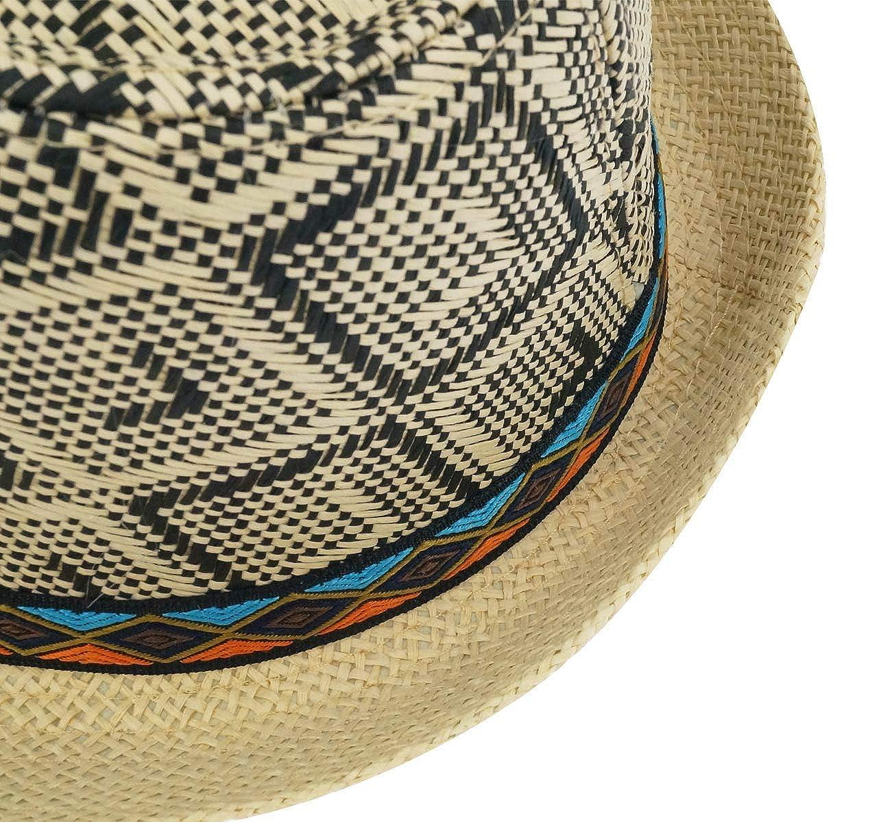 Aieoe Summer Mesh Straw Jazz Hat Short Brim Beach Sunhat Packable Panama Cap