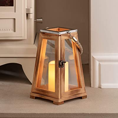 "Lights4fun, Inc. 10"" Wooden Battery Operated Indoor Flameless LED Candle Lantern: Home & Kitchen"