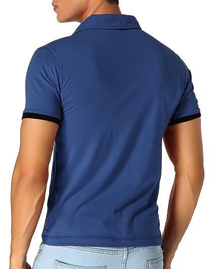 YCUEUST Polo para Hombre Manga Cortas Bordado Contrast Collar Golf Camiseta NlQ2dDRk