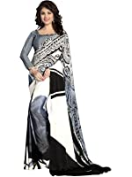 Women's Crepe Printed Saree with Unstitched Blouse