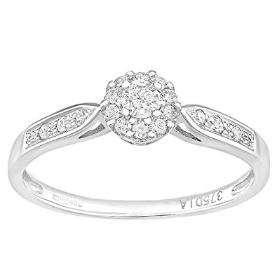 Naava 9ct White Gold Round Halo Diamond Solitaire Engagement Ring