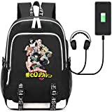 AUGYUESS My Hero Academia Anime Cosplay School Bag Daypack Shoulder Bag Bookbag Backpack with USB Charging