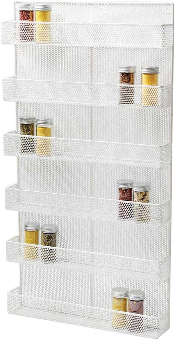 TQVAI 6 Tier Wall Mounted Spice Rack Organizer – Made of Sturdy Punching Net, White