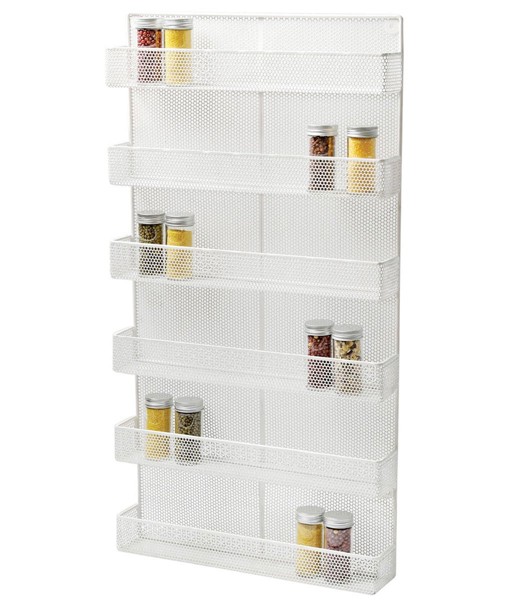 TQVAI 6 Tier Wall Mounted Spice Rack Organizer - Made of Sturdy Punching Net, White by TQVAI