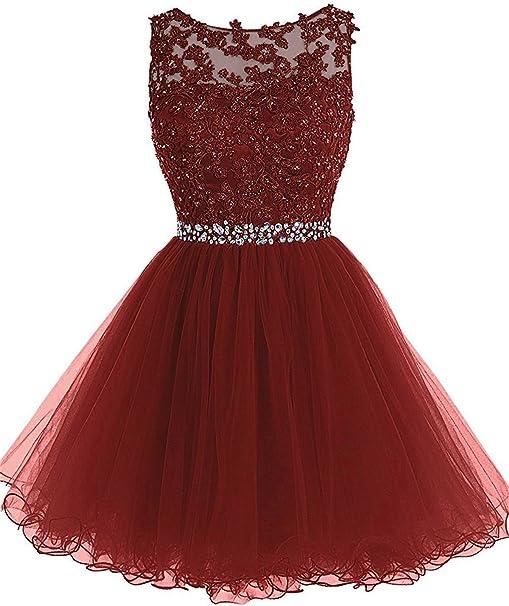Aurora Dresses Damen Tull Kurz Abendkleider Cocktailkleid Ballkleider Abiballkleider Spitze Abschlussballkleider Partykleider Amazon De Bekleidung