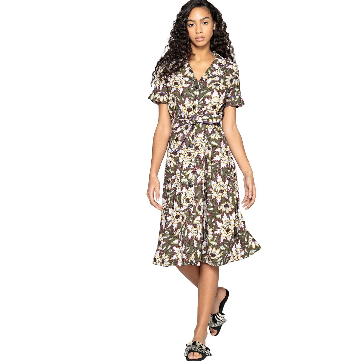 La Redoute Collections Vestido - para mujer Fantasia Fondo Kaki 40: Amazon.es: Ropa y accesorios
