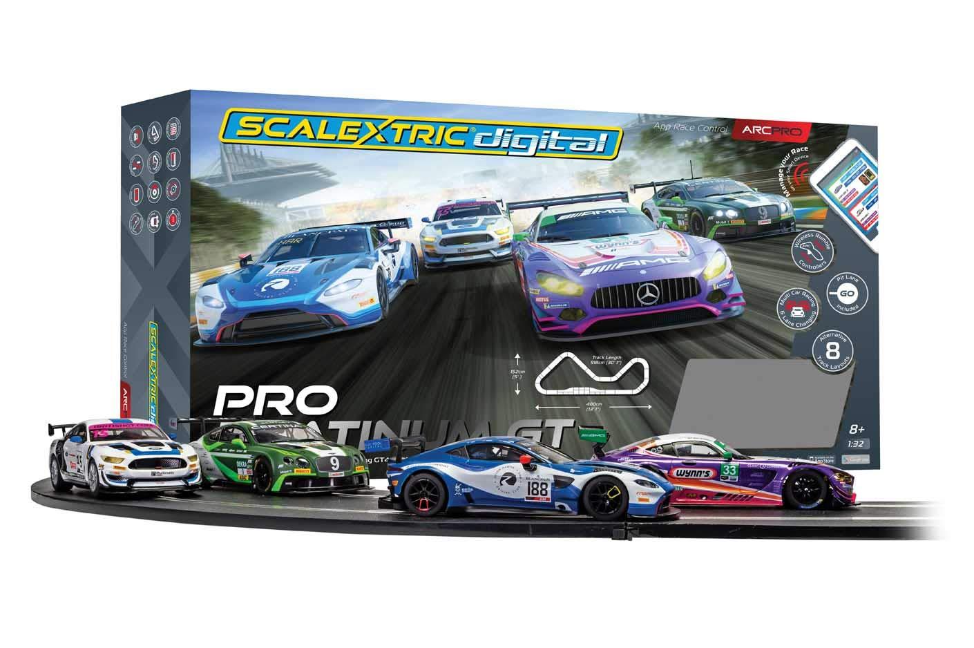 Scalextric App Race Control Pro Platinum GT 1:32 ARC Digital Slot Race Track Set C1413T