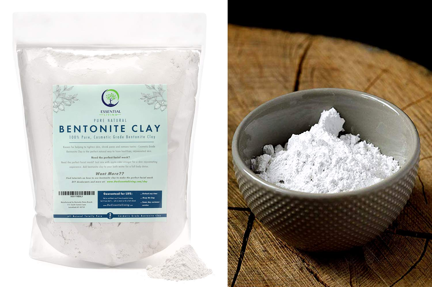 2lb - Essential Living Bentonite Clay Powder Food Grade, Great for Face Masks, DIY, Dietary Supplement by Essential Living