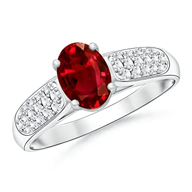 Angara July Birthstone Ruby and Diamond Engagement Ring in Platinum OpkOD