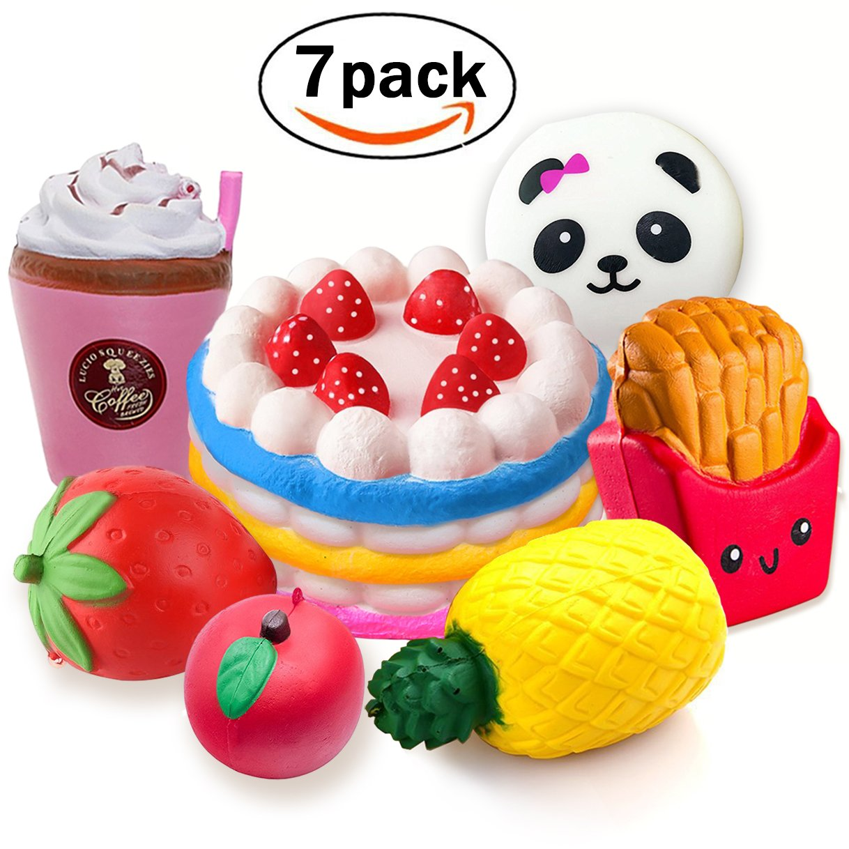 7 Pack Squishies Jumbo Mini kawaii Slow Rising Soft Toys Strawberry Cake Pineapple apple Panda French Fries Mini Strawberry Ice Cream Cup Stress Relief Squeeze For Kids Or Adults Party Favor Thanksgiving Christmas Birthday Gift Jeferym