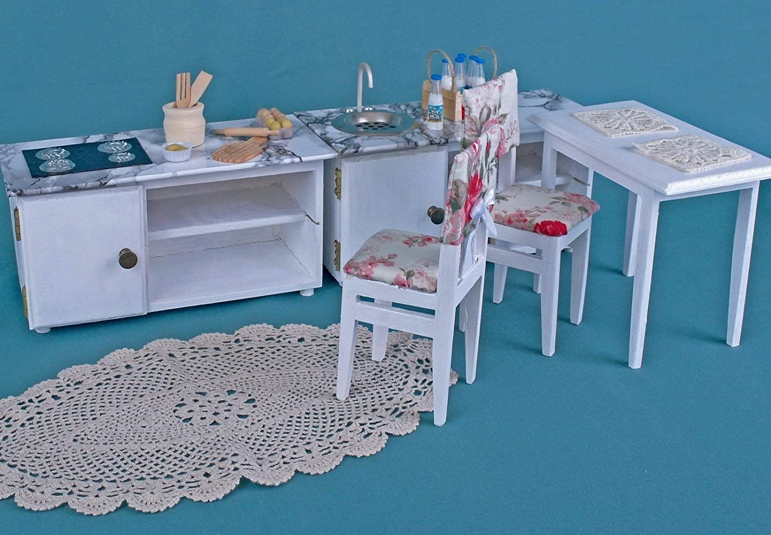 Kitchen set table chairs 2 cabinet sink hob dollshouse wooden 1:6 play-scale for Barbie Blythe furniture dolls 12 inch miniature accessories