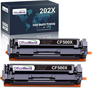 OfficeWorld Compatible HP 202X 202A Toner Cartridges Upgraded Replacement for HP CF500X CF500A High Yield, for HP Laserjet Pro MFP M281fdw M254dw M281cdw M281 M281dw M280nw Toner Printer (2 Black)