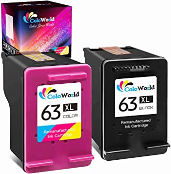 ColoWorld Remanufactured Ink Cartridge Replacement for HP 63XL 63 XL Combo Pack Work with Envy 4520 3634 OfficeJet 3830 5252 4650 5258 4655 5255 DeskJet 3636 3630 1112 3637 Printer (1 Black 1 Color)