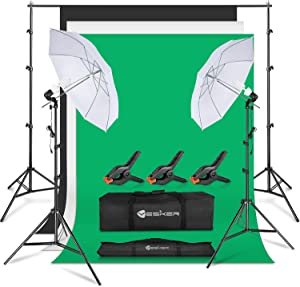 Yesker Photography Lighting Umbrella Kit, 6x9ft Muslin Backdrop Screen, 8.5x10ft Background Support System Continuous Lights Equipment for Portrait Photo Video Studio Shoot