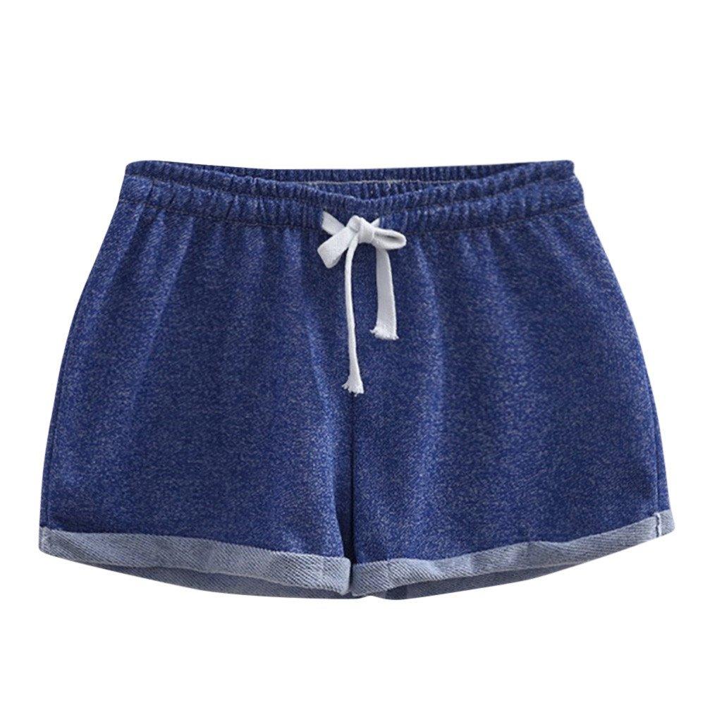 Qiujold Women Solid Shorts Causal Sexy Home Short Shorts Pants (M, Blue)