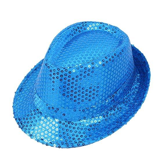 Gysad Unisex Jazz Cap Lentejuelas Sombrero de Copa Adulto Sombrero Fiesta  Danza 2894aff91ed