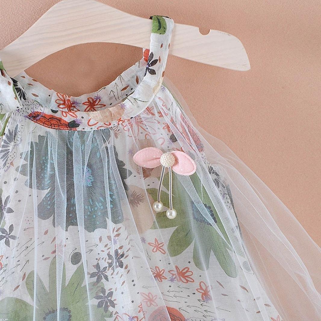 KaiCran Little Girls Sets kaiCran Newborn Baby Girls Sleeveless Floral Print Strap Net Yarn Sweet Dress Party Clothes