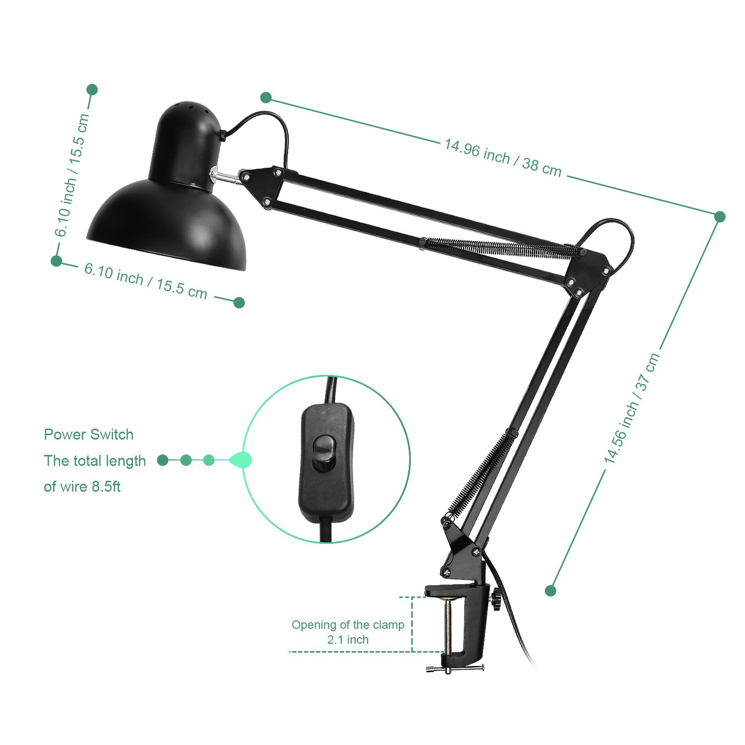 Carry360 Swing Arm Desk Lamp, Long Flexible Arm Desk Lamp Architect Table Lamp Clamp Mounted Swivel Light, Black Finish by Carry360 (Image #1)