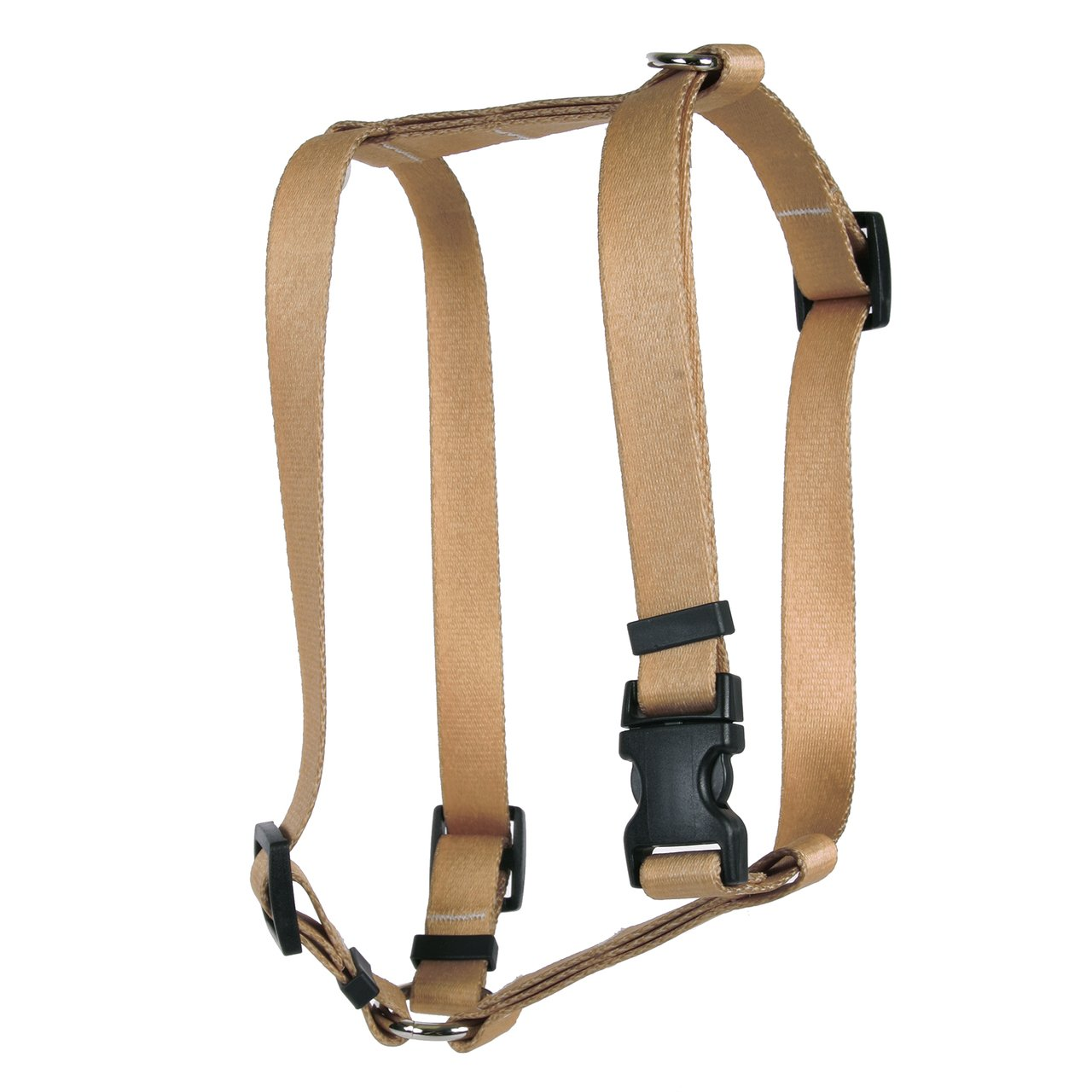 Yellow Dog Design Tan Simple Solid Roman Style H Dog Harness-Large-1'' and fits Chest 20 to 28''