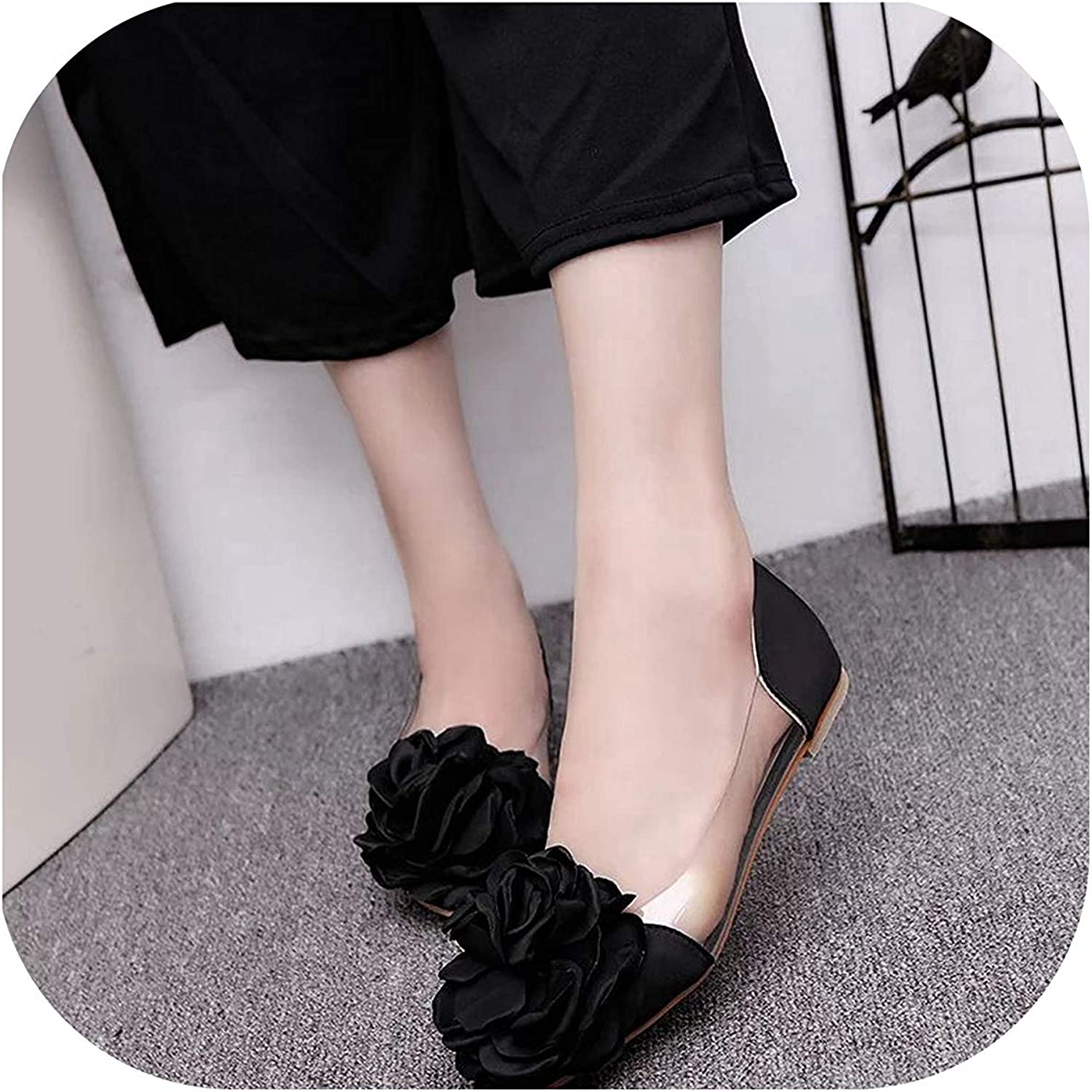 Easy Love Women Shoes Transparent Flower Leisure Ballerina Shoes Pointed Toe Slip On Casual Single Shoes,Black,39