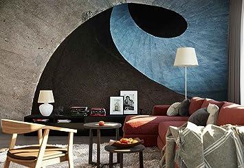 Papel Tapiz Fotomural - Escalera De Caracol De Hormigón Textura - Tema Arquitectura - XL - 368cm x 254cm (an.